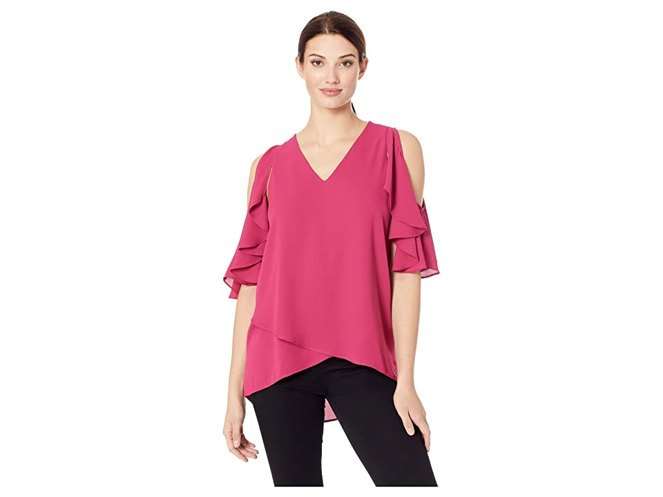 Karen Kane Ruffle Sleeve Crossover Top (Cherry) Women