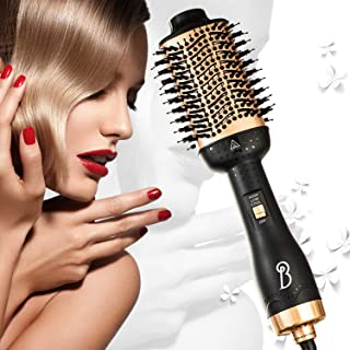 4 in 1 Hair Dryer Brush in One Household Hair Curler Powerful Hair Massage Comb Salon Anti-scald Hair Straightener Comb for Wet Hair and Dry Hair Negative Ions Safe Hot Air Comb & Volumizer with Long