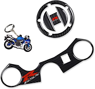 REVSOSTAR Real Carbon Look Gas Cap, Fuel Cap, Keychain and Triple Tree Front End Upper Top Clamp, Decal Stickers for GSXR 600 GSXR 750 GSXR 1000 K6 K7 K8 K9 L1 2006-2017, 3 Pcs Per Set