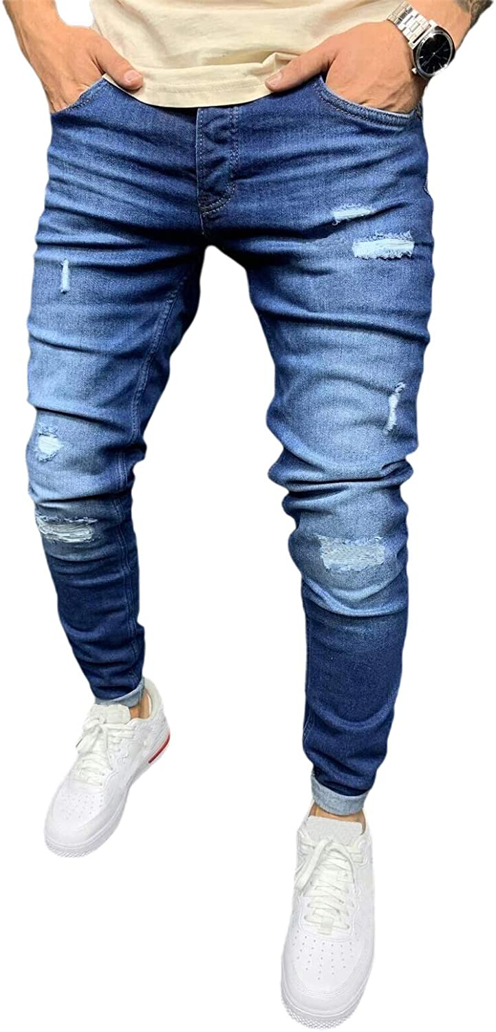 Mens Jeans Slim Fit Stretch Ripped Phoenix Mall Classic Relaxed Taper C New Shipping Free Shipping Men's