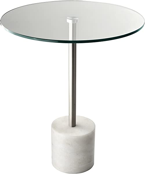 Adesso HX5282 02 Blythe End Table Steel White Marble