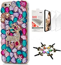 STENES Bling Case Compatible with Google Pixel 2 XL - Stylish - 3D Handmade [Sparkle Series] Bell Bear Snow Design Cover with Screen Protector [2 Pack] - Colorful