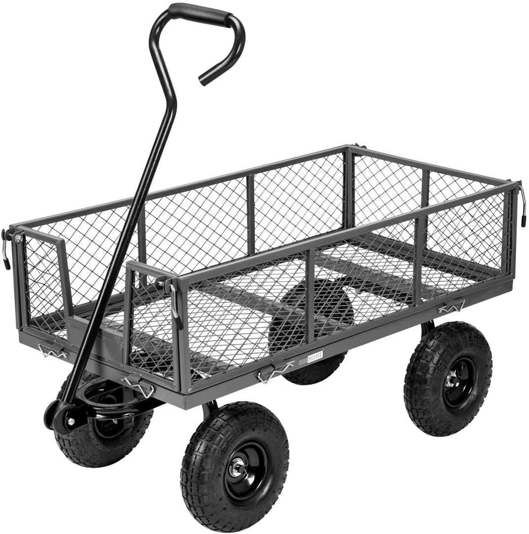 VIVOHOME Heavy Duty Max 84% OFF 1100 Lbs Capacity Steel Garden Cart New products world's highest quality popular Mesh Fol