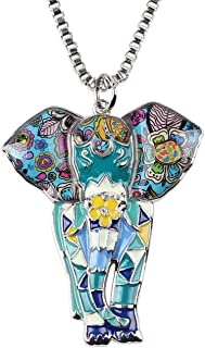 Signature Africa Wildlife Collection Sunrise Jungle Safari Wild Elephant Enamel Pendant Necklace