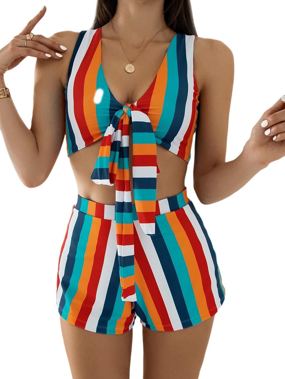 SweatyRocks Women's 2 Piece Swimsuit Knot Front Colorblock Stripe Bikini Set