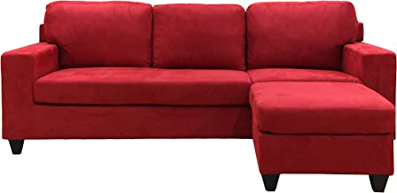 ACME 05917 Reversible Chaise Sectional, Red