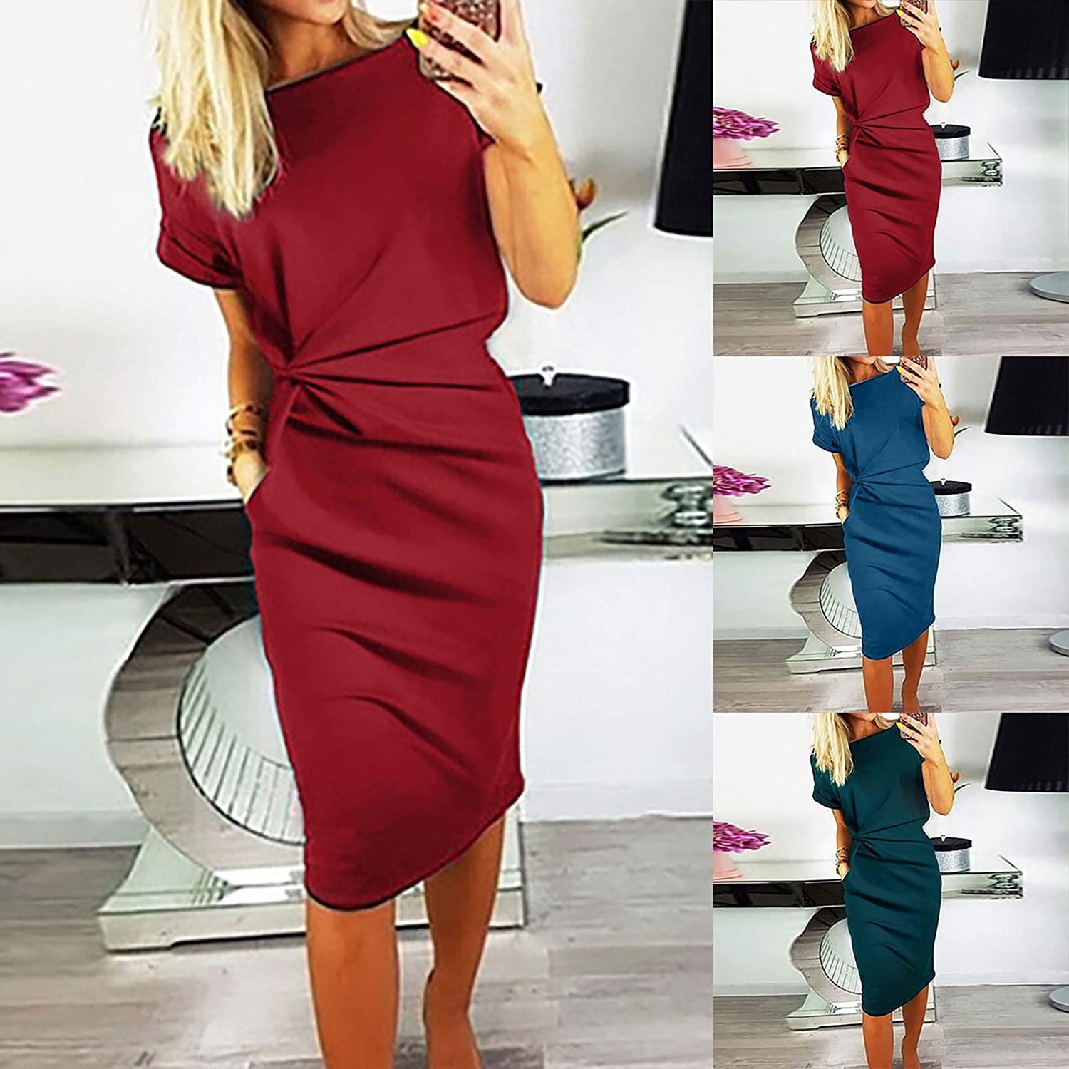 Dresses for Women Casual, Women' s Fashion Cool Solid Color Casual Formol Party Short Sleeve Elegant Dress