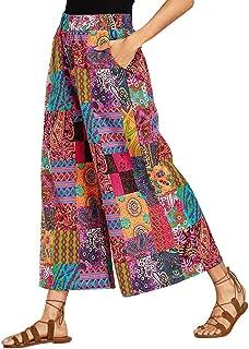 DONTAL Womens Plus Size Ethnic Style Print Elastic Waist Pocket Wide Leg Trousers Harem Pants