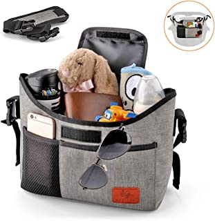 Baby Stroller Organizer, Best Universal Pram Stroller Accessories Bag with Cup Holder, 11L Extra-Large Storage Space and Detachable Shoulder Strap for Wallets, Diapers, Books, Toys, iPads - Grey