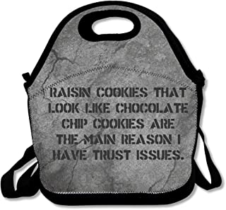 Raisin Cookies That Look Like Chocolate Chip Cookies Large & Thick Insulated Tote LunchToteBag Set Lunch Bag For Men Women Kids Enjoy You Lunch