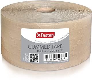 XFasten Reinforced Gummed Kraft Paper Tape, 2.75 Inches x 375 Feet