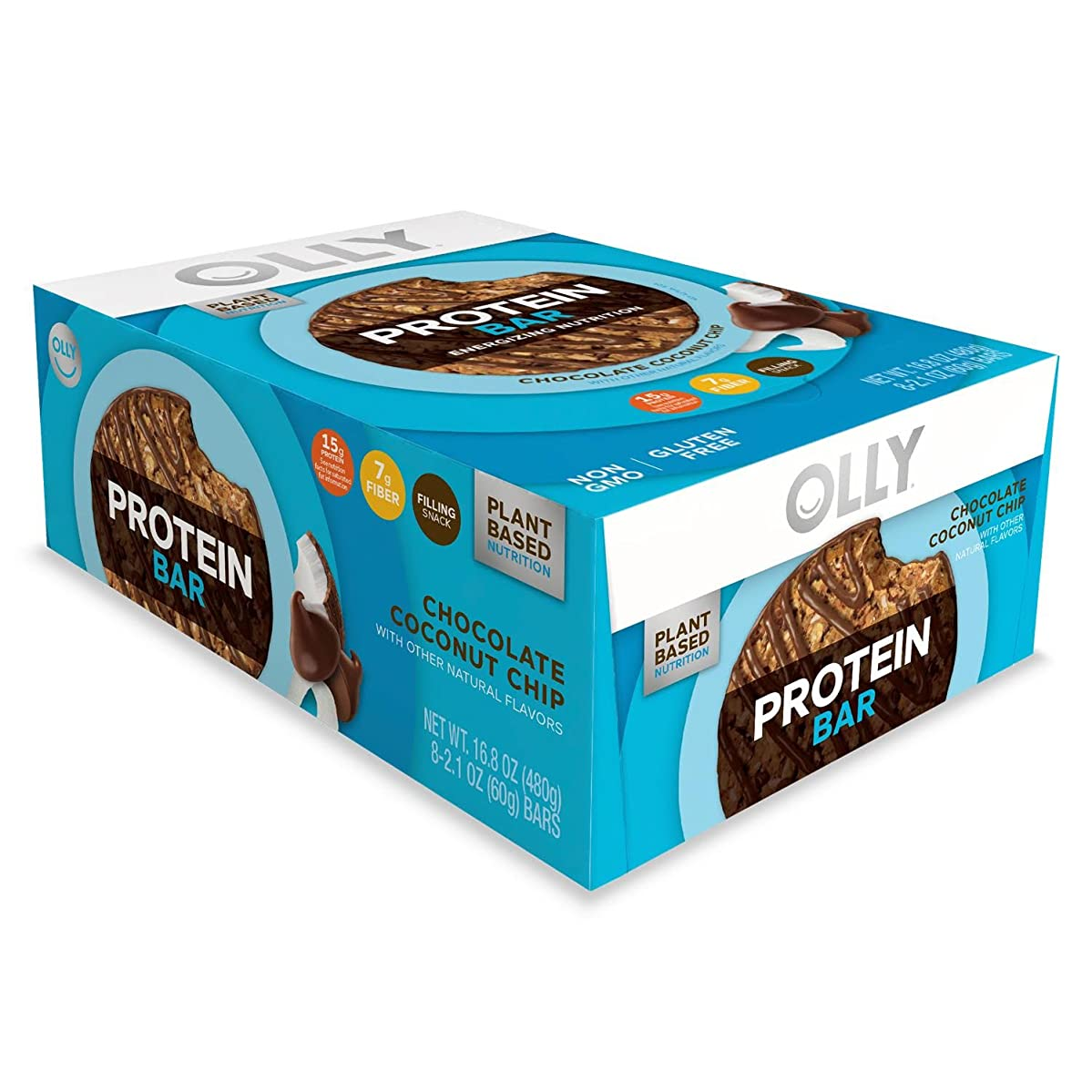 OLLY Plant-Based Protein Bar, Chocolate Coconut Chip, 2.1 Ounce Bars (Pack of 8) 15g Protein Non-GMO Gluten- Free A Well Rounded Snack for Your Healthy Lifestyle