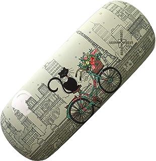 KIUB Etui à lunettes rigide - Motif Chat à vélo et aussi la Tour Eiffel de Paris