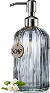JASAI 18 Oz Vertical Striped Kitchen Soap Dispenser with 304 Rust Proof Stainless Steel Pump, Refillable Liquid Soap Dispe...