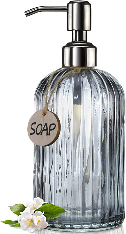 JASAI 18 Oz Vertical Striped Kitchen Soap Dispenser With 304 Rust Proof Stainless Steel Pump Refillable Liquid Soap Dispenser For Bathroom Kitchen Hand Soap Dish Soap Clear Grey