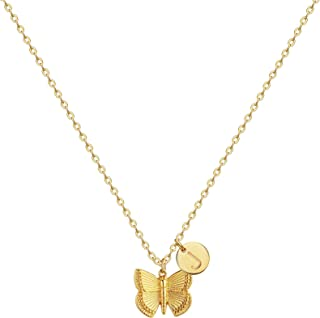 Initial Butterfly Pendant Necklace,Women 14k Gold Plated Handmade Dainty Butterfly Necklace with Initial Round Disk Pendant