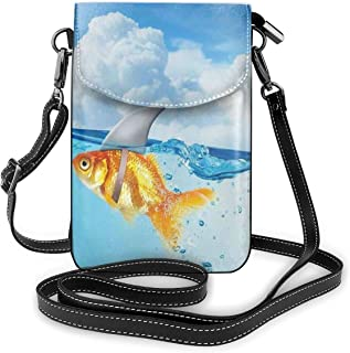 Women Small Cell Phone Purse Crossbody,Cute Goldfish With Shark Fin On Top Of The Water Fake Comic Nature Image