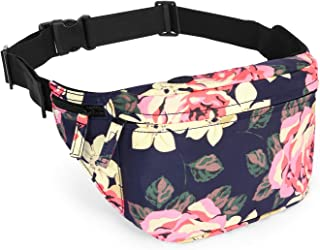 LOKASS Fanny Packs for Women Sport Waist Pack Floral Shoulder Bag with Adjustable Strap Large Capacity Perfect for Womens Running Hiking Cycling Jogging