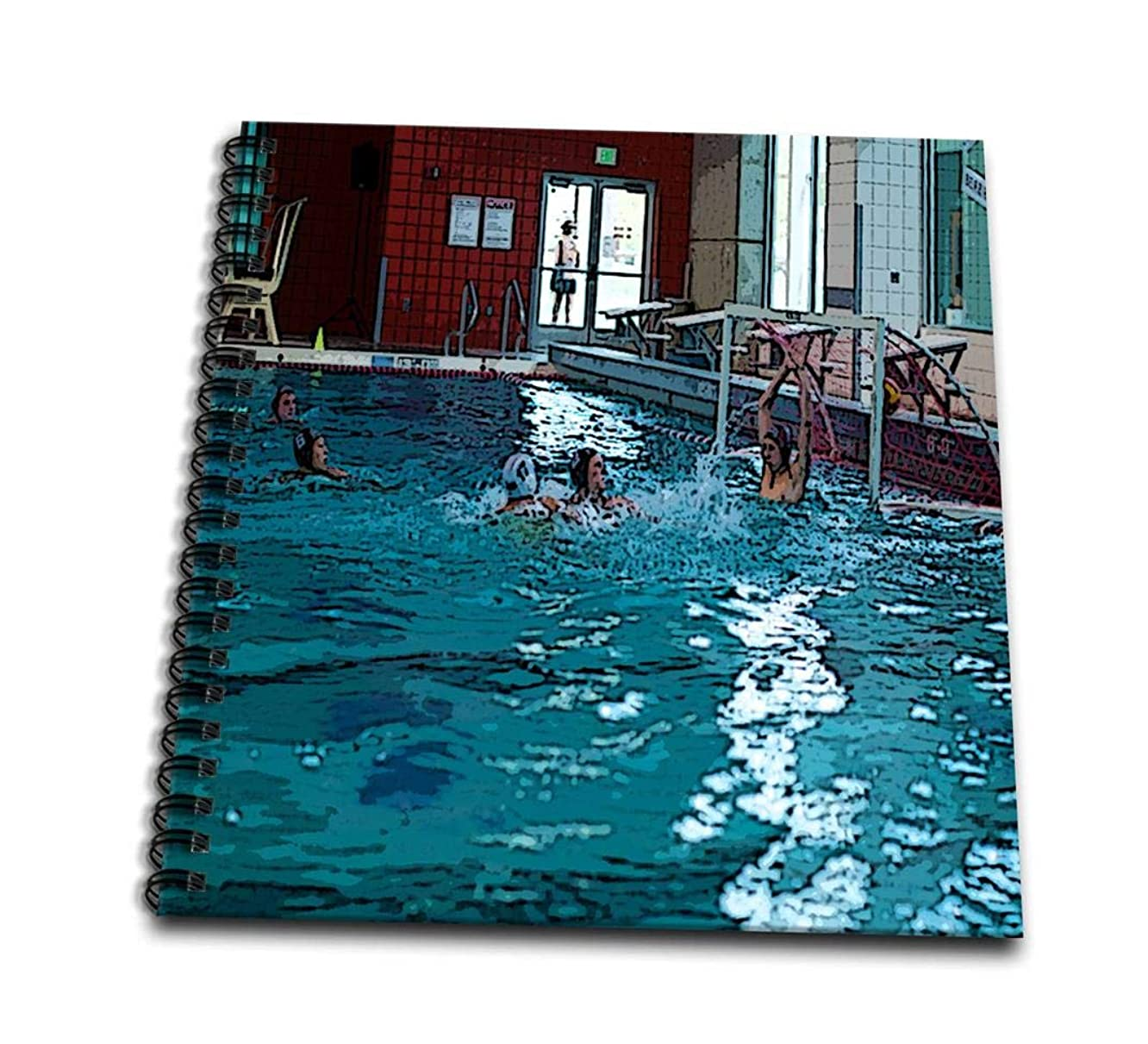 3dRose db_50530_2 Ball Going Into The Net at A Boys Water Polo Game in Cedar City, Utah with The Goalies Arms Raised-Memory Book, 12 by 12-Inch