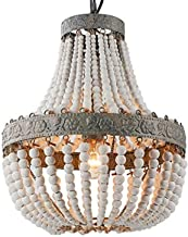 Newrays Wood Bead Chandelier Pendant Gray White Finishing Bohemian Boho Beachy Ceiling Lamp Light Fixtures,Plug in