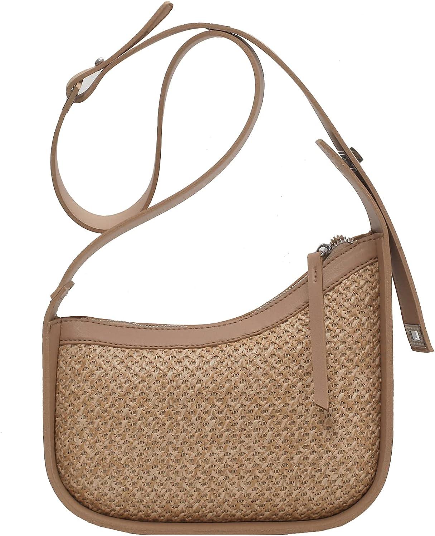Straw Shoulder Bag Straw Clutch Tote Bag Hobo Bag Leather Straps Crossbody Bag