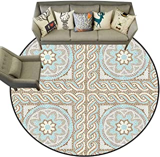 Round Area Rug Antique Decor Collection Mosaic Tile Design with Floral Elements Twists and Multi Colored Circular Pattern Living Dinning Room and Bedroom Rugs D71 Cream Brown Blue