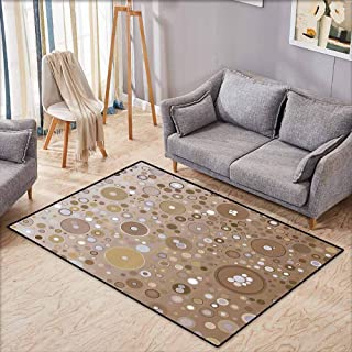 Bedroom Floor Rug Tan Soft Colored Circles and Dots in Different Sizes Bubble Shapes Artistry Light Brown Lilac Easy to Clean Carpet W4'9 xL3'9