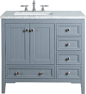 Stufurhome HD-1616G-36-CR New Yorker 36 Inches Grey Single Sink Bathroom Vanity