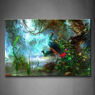 Deux Les aons Marche dans Forêt Beau Peinture Murale d'art l'image imprimée sur Toile Animal Photos d'œuvres d'art pour Le...