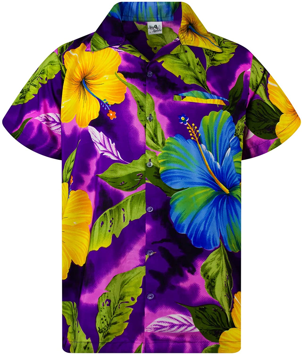 KING KAMEHA Hawaiian Shirt for Men Large special price Very OFFicial store Button Funky Down Casual