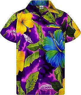 KAMEHAMEHA King Kameha Hawaiian Shirt for Men Funky Casual Button Down Very Loud Shortsleeve Unisex Big Flower
