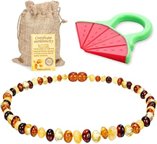 Raw Baltic Amber Teething Necklace for Babies - (Multicolor) Anti-Flammatory, Drooling & Free Teething Toy Pain Reduce Properties - Unpolished Amber with The Guaranteed…