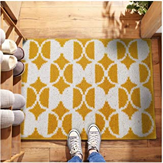 """Cool Stylish Outdoor Indoor Welcome Fiber Front Door Mat 20""""x32"""" with Non Slip Rubber Backing, Machine Washable Dog Mat, Soft Entryway Rug to Scrap Mud,Dirt,Snow,Grass,Water from Shoes!(Yellow Dots)"""