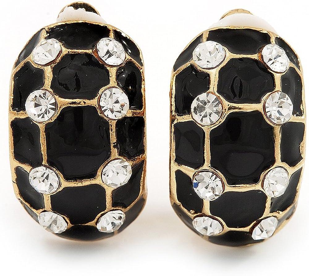 C-Shape Black Enamel Crystal Floral Clip On Earrings In Gold Plated Metal - 22mm Length