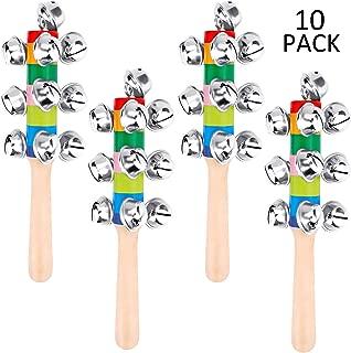AUGSHY 10 Pcs Vivid Handle Bells,Rainbow Hand Percussion Shaker Rattle Toys