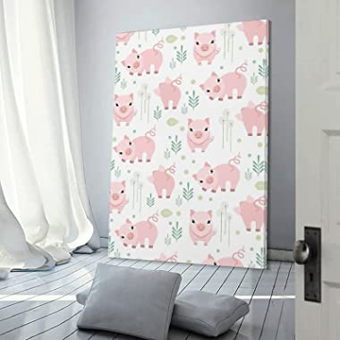 Vamabore Pink Cute Lazy Pig Hanging Picture Artwork Painting Wall Decration