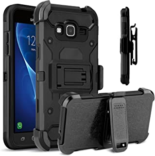 Venoro Galaxy Sky Case, Galaxy J3 Case, Heavy Duty Shockproof Rugged Three-Layer Full Body Protection Case Cover with Belt Swivel Clip and Kickstand for Samsung Galaxy J3 / Express Prime (Black)