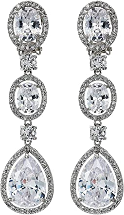 Haloed CZ Drop Clip Earrings