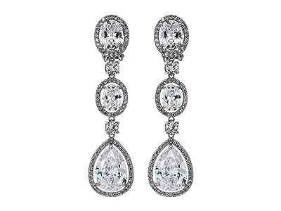 Nina Haloed CZ Drop Clip Earrings (Rhodium/White CZ) Earring