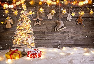 AOFOTO 7x5ft Christmas Light Backdrop Decorated New Year Tree Xmas Gift Photography Background Holiday Festive Snowflake Stars Vintage Wooden Board Photo Studio Props Vinyl Kid Portrait Wallpaper