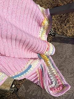 Handmade Pink Bordered Baby Blanket Afghan