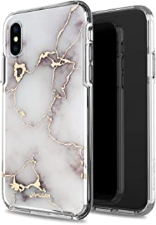 JAHOLAN Compatible iPhone X iPhone Xs Case 3D Design Shiny Gold Vein White Marble Reinforced Clear Bumper Hybrid Cushion Scratch Resistant Shockproof Hard Back Panel Cover Phone Case