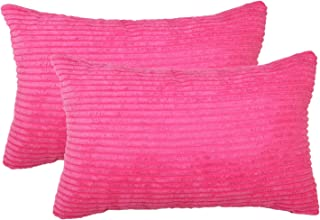 sykting Lumbar Pillow Covers Solid Super Soft Pillow Cases Pack of 2 Decorative Pillow Covers for Bed Sofa Couch 12 x 20 inch Hot Pink