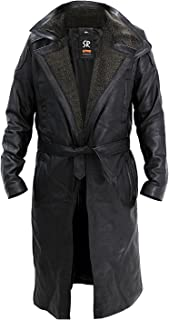 Blade Runner 2049 Ryan Gosling Fur Lapel Collar Trench Black Leather Coat