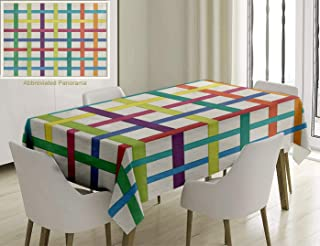 Nalagoo Unique Custom Cotton and Linen Blend Tablecloth Abstract Strips Decor Colourful Long and Narrow StripsTablecovers for Rectangle Tables, 86 x 55 inches