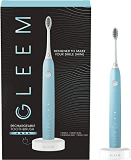 Gleem RECHARGEABLE TOOTHBRUSH • AQUA • SONIC BRISTLE VIBRATIONS | QUIET MOTOR | BUILT-IN TIMER | 2 BRUSHING MODES