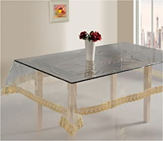CASANEST Transparent Golden Border Rectangular Center Table Cover(40X60inch)