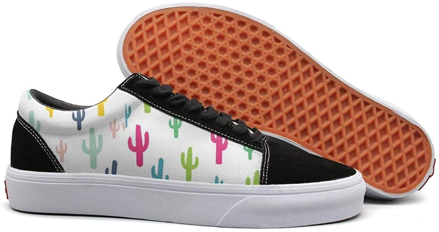 Uieort colorful Cactus Wallpaper Womens Lace up Canvas shoes Casual