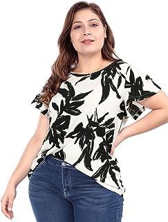 Agnes Orinda Women's Plus Size Round Neck Short Sleeves Leaf Prints Summer Floral Top