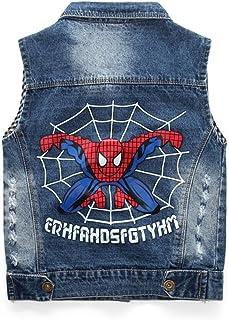 Nine Minow Baby Boys Sleeveless Denim Vest Kid Spiderman Vest Coat